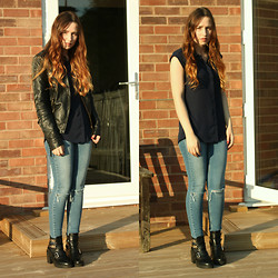 Kelsey - Primark Crop Sleeve Shirt, Miss Selfridge Vintage Wash Ripped Jeans, Boohoo Cut Out Boots, Miss Selfridge Faux Leather Biker Jacket - Ripped Jeans