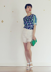 GocDani. Com - Sheinside Top, Warehouse Shorts, Betts For Her Shoes, Colette Hayman Earrings, Fashion Addict Clutch - Jade