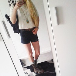 Isobel Thomas - Bay Army Style Boots, Primark Cream And Grey Knee High Socks, George At Asda Black Leather Look Shorts, Tkmaxx Brown Plaited Belt, New Look Creqm Knitted Cropped Jumper, New Look Hand&Eye Necklace, New Look Classy Watch - Autumn Indie