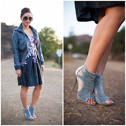 Lily S. - Iz Beyer Satin Floral Dress, Promise Peep Toe Booties, Moto Jacket, Vintage Earrings, Vintage Sunglasses - Fall Floral