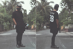 Argie Alcantara - Royalty Clothing Co. Bushido Jersey Tee, Royalty Clothing Co. Ronin Layered Shorts, Royalty Clothing Co. Ronin Lux Leggings, Dr. Martens 1461, Os Accessories Seacage Cap - Stealth