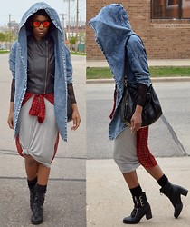 Sushanna M. - Denim Cape, Thrifted Black Faux Leather Zipper Vest, Nasty Gal Red Sheer Plaid High Low Top, Grey Sleeveless Tank Dress, Gold Studded Barrel Bag, Black Buckled Zippered Ankle Boots - Centrifugal Force