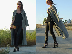 Melina Vou - Melina Vou Maxi Coat, Zara Faux Leather Pants - MAXI