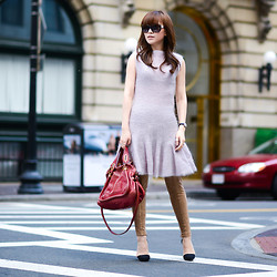 Diana Z Wang - Fit And Flare Sweater Dress, Zara Suede Leggings, Chloé Chloe Paraty, Chanel Sunglasses, Nasty Gal Suede Pumps - Fuzzy-wuzzy, fit n flare, knit by mom