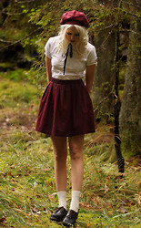 Sotzie Q - Second Hand Burgundy Hat, Second Hand White Shirt, Second Hand Burgundy Skirt - Cinnamon chaser