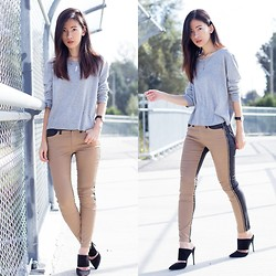 Claire Liu - Missguided Top, 7 For All Mankind Jeans, Schutz Heels - Overpass