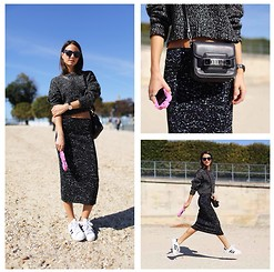 Zina CH - Proenza Schouler Skirt, Proenza Schouler Sweater, Proenza Schouler Bag, Moschino Iphone Case - Jumping Around Tuileries