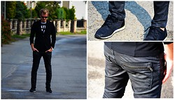 Marcin Wysocki - Zara Black Jacket, H&M Shirt With Number, Forever 21 Black Trouses, Pull & Bear Black Sneakers - All in black