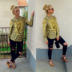 Brina SweetStyle - Best E Shop Leopard Print Shirt, Best E Shop Denim Ripped Pants - ¨Leopard¨