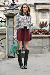 Ella Catliff - Tory Burch Jacket, Tory Burch Shirt, American Apparel Skirt, Pollini Boots, Alice And Olivia Bag - LFW SS15: Day 1