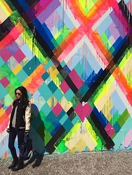 Cleo Y. - Obey Leather Accent Varsity Jacket, Free People Skinny Jeans, Balenciaga Classic City Bag, Steve Madden Karena Bootie - Bowery Art Mural