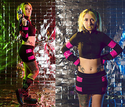 Yaz Ugalde - Evolution Division Crop Sweater, Evolution Division Pvc Skirt, Tuk Multi Leopard Print Creepers - Cyber Space Look