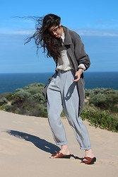 Carmen Grace - 2nd Hand Coat, 2nd Hand Grid Shirt, 2nd Hand Pants, 2nd Hand Sandals - +breezy