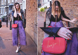 Jaclyn - Asos Culottes, Gestuz Leather Jacket, Zara Bag, Asos Silver Shoes - Evening Culottes
