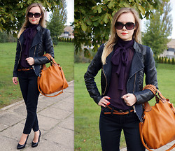 Kristina K-ak - Deichmann Heels, Tk Maxx Jeans, All Bag, Guess? Sunglasses, Nn Top - Purple & Black Outfit