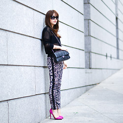 Diana Z Wang - Theory Sheer Pullover, Zara Snake Print Side Stripe Pants, Nasty Gal Pink Pumps, Chanel Classic Flap, Chanel Sunnies - Sheer pullover x pink snake print