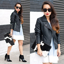 Toshiko S. - Zerouv Sunglasses, Forever 21 Quilted Leather Jacket, Missguided Colorblock Swing Dress, Primecut Bags Cow Hide Clutch, Missguided Suede And Croc Ankle Boots - Carnaby Girl