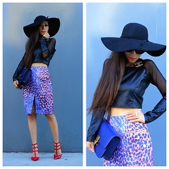 Sasa Zoe - Hat, Skirt, Shoes, Ring, Bag, Top - Shall We Sasa: Cobalt Leopard