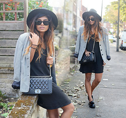 Kavita D - New Look Black Fedora, Ray Ban Ray Ban Wayfarer, Dogtooth Coat, Choies Black Vest Dress, New Look Black Patent Loafers, Chanel Boy Bag - Lookbook.. I'm back!