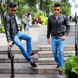 Leo Chan - Leather Varsity Jacket, Warby Parker Sunglasses, Black Brown Leather Sneakers, Chronograph Watch - Leather Varsity