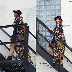 Jaclynn Brennan - Living Doll La Sheer Harvest Moon Maxi, Forever 21 Lbd, Bcbg Felt Fedora, Sienna Ray Babette Mini Cross Body, Enzo Angiolini Zipper Booties - Saturdaze & Dark Florals