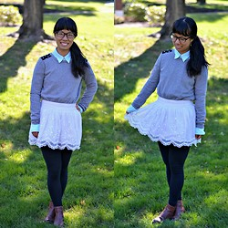 Lily Fang - Forever 21 Sweater, Ralph Lauren Mint Button Down, Thrifted Hollister White Skirt, Tommy Hilfiger Ankle Boots - Juxtaposition