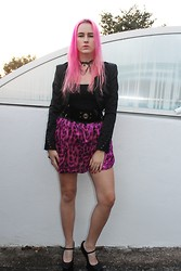 Susan Dollparts - Ebay Necklace, Tally Weijl Blazer, Selfmade Skirt, Jeffrey Campbell Heels - Pink & Glitter
