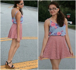 Jennifer J - Forever 21 Flower Top, Forever 21 Lace Skirt, Shoemint Blaire - Beautiful Pastel