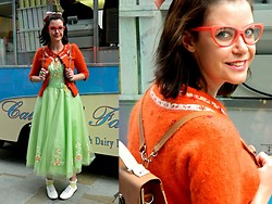 Charley Ellis - Asos Big Bow Clip, Monsoon Fluffy Wool Cardigan, 50's Style Prom Dress, New Look Green Frilly Socks, Matalan White Brogues, Forever 21 Orange Cat Eye Glasses, Stylistpick Tan & Cream Satchel - Hill Valley, A Nice Place To Live