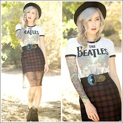 Brittany Bao - Forever 21 Beatles Ringer Tee, Nasty Gal Plaid Skirt, Nasty Gal Boater Hat, Nasty Gal Waist Belt, La Moda Zhiloh Cut Out Boot, Lzzr Jewelry Case Mini Ring - Day Tripper