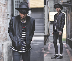 IVAN Chang - Asos Bomber Jacket, Tastemaker 達新美 Striped Tee, Topman Black Skinny Jeans - 061014 TODAY STYLE