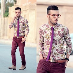 Faissal Yartaa - Bows'n Ties Knitted Skinny Tie In Modern Purple, Polette Glasses - Someone Like You