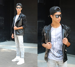 Saad Mouhannad - Zara Leather Biker Jacket, April 77 Skinny Jeans, Milanoo - NOMEDIOCRE.