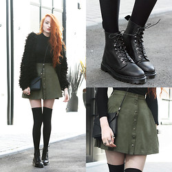 Olivia Emily - Missguided Fluffy Cardigan, Similar High Neck Top (Old), Miss Patina Green Faux Suede Skirt, Monki Cross Body Bag, Dr. Martens Hadley Boots - Hadley.
