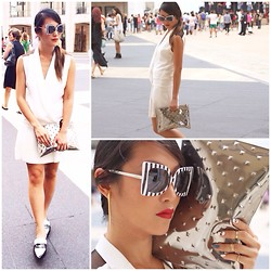 Sabrina P. - Tuxedo Dress, Loafers, Sunglasses, Clutch, Earring - Black and White Never Boring
