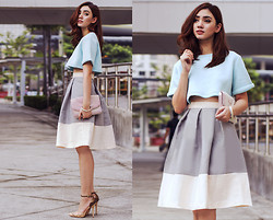 Aileen Belmonte - Choies Neoprene Cropped Top, Asto Group Pleated Bubble Skirt, People Are Ankle Strap Pumps - Sky