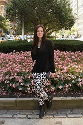 Alex Llana - Guess? Top, Guess? Handbag, Denny Rose Pants, Vince Camuto Boots - Animal Print in NY