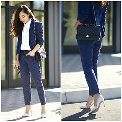 Hallie S. - White Pumps, Blue Jacquard Suit, Bag - Blue Jacquard Suit