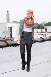 Emmy Geraghty - Forever 21 Chunky Sweater, H&M Button Up, Urban Outfitters Infinity Scarf, Buffalo Exchange Envelope Skirt, Payless Combat Boots - Casual Rooftop Posing