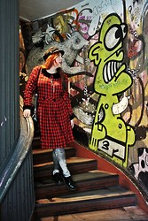 Libertad G - Vintage Tartan Dress, Dr. Martens Shoes, Pimkie Cap - Ghosts around Warsaw