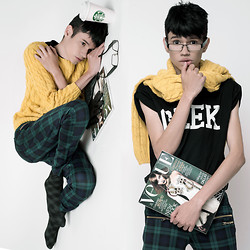 Händer Duarte - Romwe Yellow Mustard, Choies Geek, Romwe Green Plaid - Sweater Weather
