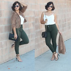 Claudia Felix Garay - Blush Boutique Sheer White Top, Forever 21 Crossbody Bag, Ymi Army Green Pants, Target Strappy Heels, Foreign Exchange Fuzzy Brown Coat, Forever 21 Aviators - Fuzz in Army Green