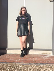 Karleequa - Acidrap Shirt, Forever 21 Faux Leather Skirt, Dr. Martens 1460s - Acid rap