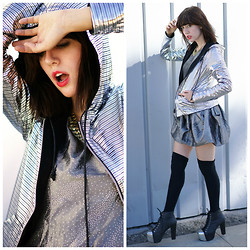 Amy Roiland - Betabrand Disco Ball Hoodie, Jeffrey Campbell Shoes - Future Disco Ball Hoodie