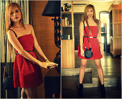 Deyah Conlu - Forever 21 Red Dress, Call It Spring Black Bag, Steve Madden Black Shoes - I've never seen you before