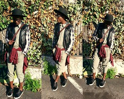 Ronald Gravesande - Zara Olive Green Jumpsuit, Asos Black And White Plaid Shirt, Forever 21 Black Leather Vest, Topman Burgundy Dress Shirt, Aldo Black And White Patent Leather Shoes, Urban Outfitters Black Hat, Forever 21 Black And White Watch Necklace, Zara Brown Leather Crocodile Bag - Just a Suit