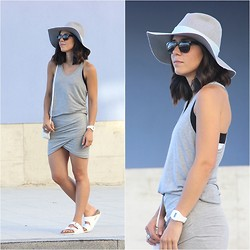 Romalo B - Zara Hat, Birkenstock Sandals - ALL GREY EVERYTHING