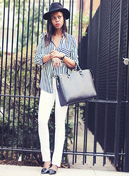 Rose L - Zara Office City Bacg, Forever 21 White Jeans, Zara Stripe Blouse, Zara Flats - Earning my Stripes