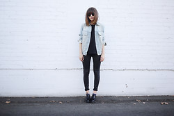 Rima Vaidila - American Apparel Oversized Denim Jacket - Black & blue