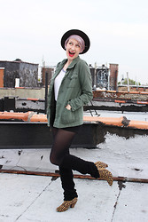Emmy Geraghty - H&M Legwarmers, Urban Outfitters Leopard Booties, Urban Outfitters Utility Jacket, Target Baseball Tee, Vintage Hat - Leopard & Pastels